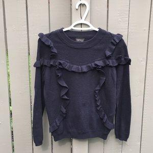 Topshop Black Ruffle Sweater Size 4